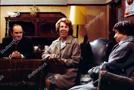Richard Davies (as Idris Hopkins), Kathy Staff (as Vera Hopkins) and Jessie Evans (as Granny Hopkins)