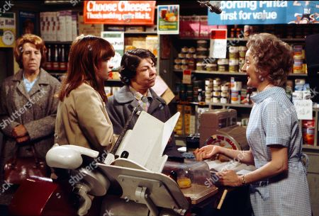 Kathy Staff (as Vera Hopkins), Kathy Jones (as Tricia Hopkins), Jessie Evans (as Granny Hopkins) and Thelma Barlow (as Mavis Riley)