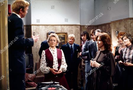 Graham Haberfield (as Jerry Booth), Thelma Barlow (as Mavis Riley), Peter Adamson (as Len Fairclough), Neville Buswell (as Ray Langton), William Roache (as Ken Barlow),  Stephen Hancock (as Ernest Bishop), Eileen Mayers (as Sheila Crossley), Barbara Knox (as Rita Littlewood) and Eileen Derbyshire (as Emily Bishop)