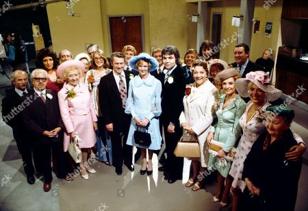 The wedding of Maggie Clegg and Ron Cooke. John Barrard (as Sidney Wilson), Jack Howarth (as Albert Tatlock), Diana Davies (as Norma Ford), Phil McCall (as George Farmer), Doris Speed (as Annie Walker), Thelma Barlow (as Mavis Riley), Bernard Youens (as Stan Ogden), Anne Kirkbride (as Deirdre Hunt), Eric Lander (as Ron Cooke), Peter Adamson (as Len Fairclough), Irene Sutcliffe (as Maggie Clegg), Graham Haberfield (as Jerry Booth), Bill Kenwright (as Gordon Clegg), Kenneth Farrington (as Billy Walker), Betty Driver (as Betty Turpin), Neville Buswell (as Ray Langton), Jean Alexander (as Hilda Ogden), Barbara Knox (as Rita Littlewood), Bryan Mosley (as Alf Roberts), Julie Goodyear (as Bet Lynch) and Margot Bryant (as Minnie Caldwell)