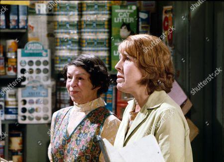 Jessie Evans (as Granny Hopkins) and Kathy Staff (as Vera Hopkins)