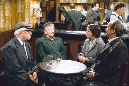 Jack Howarth (as Albert Tatlock), Margot Bryant (as Minnie Caldwell), Bryan Mosley (as Alf Roberts), Jessie Evans (as Granny Hopkins), William Roache (as Ken Barlow), Betty Driver (as Betty Turpin) and Richard Davies (as Idris Hopkins)