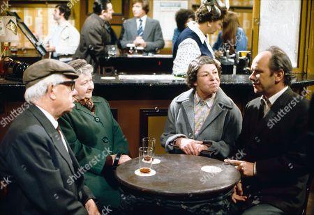 Jack Howarth (as Albert Tatlock), Margot Bryant (as Minnie Caldwell), Bryan Mosley (as Alf Roberts), William Roache (as Ken Barlow), Betty Driver (as Betty Turpin), Jessie Evans (as Granny Hopkins) and Richard Davies (as Idris Hopkins)