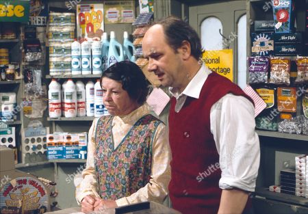 Jessie Evans (as Granny Hopkins) and Richard Davies (as Idris Hopkins)