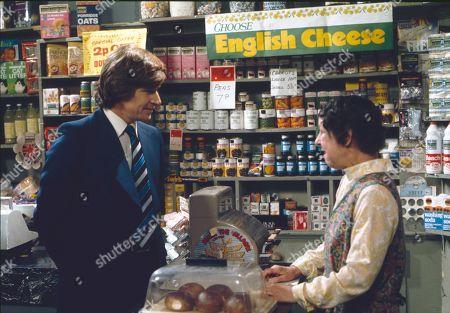 William Roache (as Ken Barlow) and Jessie Evans (as Granny Hopkins)