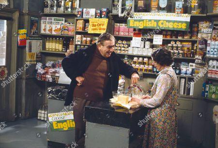 Bernard Youens (as Stan Ogden) and Jessie Evans (as Granny Hopkins)
