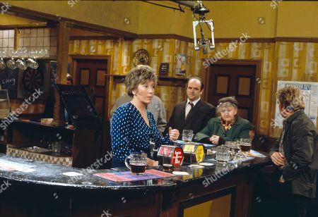 Maggie Jones (as Blanche Hunt), Richard Davies (as Idris Hopkins), Margot Bryant (as Minnie Caldwell) and Peter Adamson (as Len Fairclough)