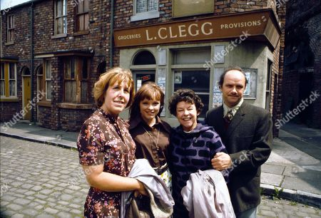 Promotional shots of the Hopkins family arriving in the Street. Kathy Staff (as Vera Hopkins), Kathy Jones (as Tricia Hopkins), Jessie Evans (as Granny Hopkins) and Richard Davies (as Idris Hopkins)