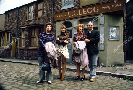 Promotional shots of the Hopkins family arriving in the Street. Jessie Evans (as Granny Hopkins), Kathy Jones (as Tricia Hopkins), Kathy Staff (as Vera Hopkins) and Richard Davies (as Idris Hopkins)