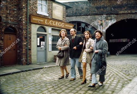 Promotional shots of the Hopkins family arriving in the Street. Kathy Staff (as Vera Hopkins), Richard Davies (as Idris Hopkins), Kathy Jones (as Tricia Hopkins) and Jessie Evans (as Granny Hopkins)