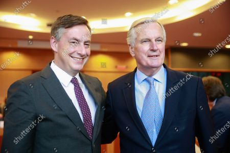 Michel Barnier, EC Head of Task Force for Relations with the UK (R) and David McAllister (EPP,DE), Chair of the EP-UK coordination group at the start of a EU-UK coordination group meeting  at the  European Parliament in Brussels, Belgium, 05 February 2020.