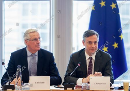 Michel Barnier, EC Head of Task Force for Relations with the UK (L) and David McAllister (EPP,DE), Chair of the EP-UK coordination group at the start of a EU-UK coordination group meeting  at the  European Parliament in Brussels, Belgium, 05 February 2020.