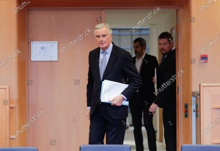 Michel Barnier, EC Head of Task Force for Relations with the UK and David McAllister (EPP,DE), Chair of the EP-UK coordination group (not seen) at the  European Parliament in Brussels, Belgium, 05 February 2020.
