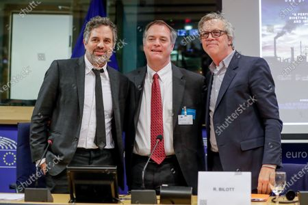 Stock Image of (L-R) US actor Mark Ruffalo, environmental attorney Robert Bilott, and director Todd Haynes attend the event 'Forever Chemicals NO MORE!' to discuss the dangers of so-called forever chemicals such as PFAS (Per- and polyfluoroalkyl substances) and the European answer at the European Parliament in Brussels, Belgium, 05 February 2020.
