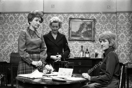 Ep 1775 Wednesday 18th January 1978 Emily Bishop braces herself for the ordeal of Ernie's funeral. With Emily Bishop, as played by Eileen Derbyshire ; Norah Seddon, as played by Cynthia Michaelis ; Mavis Riley, as played by Thelma Barlow.