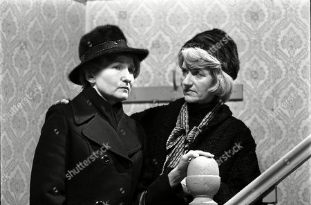 Stock Image of Ep 1775 Wednesday 18th January 1978 Emily Bishop braces herself for the ordeal of Ernie's funeral. With Emily Bishop, as played by Eileen Derbyshire ; Norah Seddon, as played by Cynthia Michaelis.