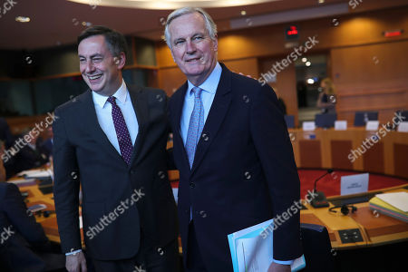 Michel Barnier, David McAllister. European Union chief Brexit negotiator Michel Barnier, right, is greeted by MEP David McAllister prior to a parliamentary committee meeting on Brexit at the European Parliament in Brussels