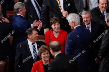 Susan Collins, Mike Rounds, Lindsey Graham. Sen. Susan Collins, R-Maine, center, flanked by Sen. Mike Rounds, R-S.D., left, and Senate Judiciary Committee Chairman Lindsey Graham, R-S.C., greets other lawmakers as she arrives for the State of the Union speech by President Donald Trump, at the Capitol in Washington. The Republican-controlled Senate is expected to acquit Trump today in his impeachment trial on impeachment charges of abuse of power and obstruction of Congress