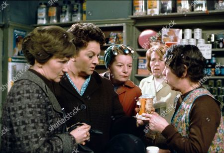 Eileen Derbyshire (as Emily Bishop), Betty Driver (as Betty Turpin), Jean Alexander (as Hilda Ogden), Kathy Staff (as Vera Hopkins) and Jessie Evans (as Granny Hopkins)