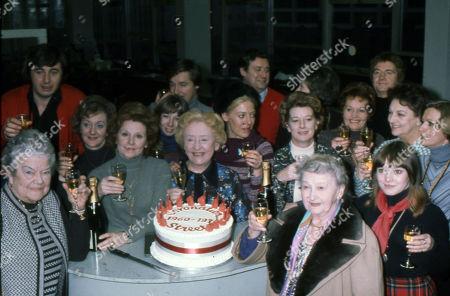 Coronation Street cast members celebrate the series 15th Birthday. Violet Carson, Neville Buswell, Thelma Barlow, Barbara Knox, Helen Worth, Doris Speed, Julie Goodyear, Bryan Mosley, Jean Alexander, Margot Bryant, Doreen Keogh, Peter Adamson, Betty Driver and Kathy Jones