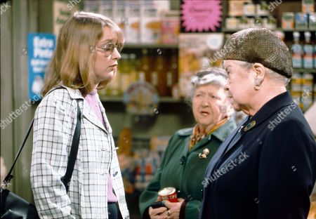 Anne Kirkbride (as Deirdre Hunt), Margot Bryant (as Minnie Caldwell) and Violet Carson (as Ena Sharples)