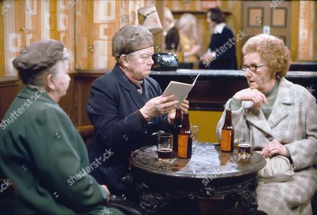 Margot Bryant (as Minnie Caldwell), Violet Carson (as Ena Sharples) and Josie Lane (as Dolly Fairbrother)