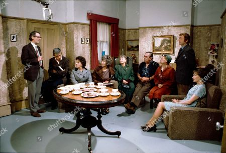 Stock Picture of Stephen Hancock (as Ernest Bishop), Barry Lowe (as Harry Goulden), Betty Driver (as Betty Turpin), Maggie Jones (as Blanche Hunt), Margot Bryant (as Minnie Caldwell), Bernard Youens (as Stan Ogden), Jean Alexander (as Hilda Ogden), Graham Haberfield (as Jerry Booth) and Eileen Derbyshire (as Emily Bishop)
