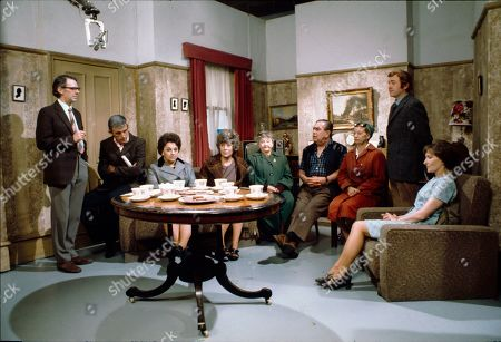Stock Photo of Stephen Hancock (as Ernest Bishop), Barry Lowe (as Harry Goulden), Betty Driver (as Betty Turpin), Maggie Jones (as Blanche Hunt), Margot Bryant (as Minnie Caldwell), Bernard Youens (as Stan Ogden), Jean Alexander (as Hilda Ogden), Graham Haberfield (as Jerry Booth) and Eileen Derbyshire (as Emily Bishop)