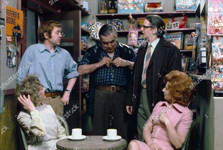Thelma Barlow (as Mavis Riley), Graham Haberfield (as Jerry Booth), Bernard Youens (as Stan Ogden), Stephen Hancock (as Ernest Bishop) and Barbara Knox (as Rita Littlewood)