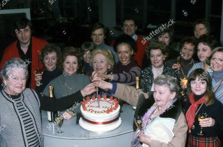 Coronation Street cast members celebrate the series 15th Birthday. Violet Carson, Neville Buswell, Thelma Barlow, Barbara Knox, Helen Worth, Doris Speed, Julie Goodyear, Bryan Mosley, Jean Alexander, Margot Bryant, Maggie Jones, Doreen Keogh, Peter Adamson, Betty Driver and Kathy Jones