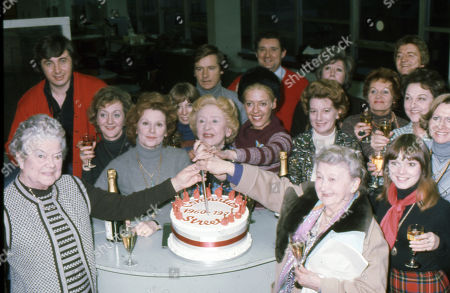 Coronation Street cast members celebrate the series 15th Birthday. Violet Carson, Neville Buswell, Thelma Barlow, Barbara Knox, Helen Worth, Doris Speed, Julie Goodyear, Bryan Mosley, Jean Alexander, Maggie Jones, Margot Bryant, Doreen Keogh, Peter Adamson, Betty Driver and Kathy Jones