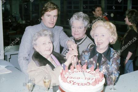 Coronation Street cast members celebrate the series 15th Birthday.  Margot Bryant, William Roache, Violet Carson and Doris Speed