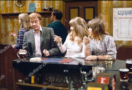 Graham Haberfield (as Jerry Booth), Helen Worth (as Gail Platt) and Kathy Jones (as Tricia Hopkins)