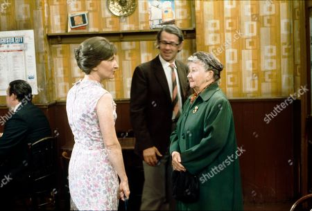 Eileen Derbyshire (as Emily Bishop), Stephen Hancock (as Ernest Bishop) and Margot Bryant (as Minnie Caldwell)