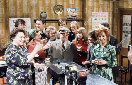 Cast members celebrate Jack Howarth's 80th Birthday. Betty Driver (as Betty Turpin), Neville Buswell (as Ray Langton), Kathy Jones (as Tricia Hopkins), Jean Alexander (as Hilda Ogden), Bryan Mosley (as Alf Roberts), Thelma Barlow (as Mavis Riley), Jack Howarth (as Albert Tatlock), William Roache (as Ken Barlow), Anne Kirkbride (as Deirdre Hunt), Helen Worth (as Gail Potter), Eileen Derbyshire (as Emily Bishop, Barbara Mullaney (as Rita Littlewood) and  Stephen Hancock (as Ernest Bishop)