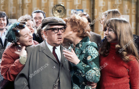 Cast members celebrate Jack Howarth's 80th Birthday. Neville Buswell (as Ray Langton), Jean Alexander (as Hilda Ogden), Thelma Barlow (as Mavis Riley), Bryan Mosley (as Alf Roberts), Jack Howarth (as Albert Tatlock), Barbara Mullaney (as Rita Littlewood), Anne Kirkbride (as Deirdre Hunt) and Helen Worth (as Gail Potter)