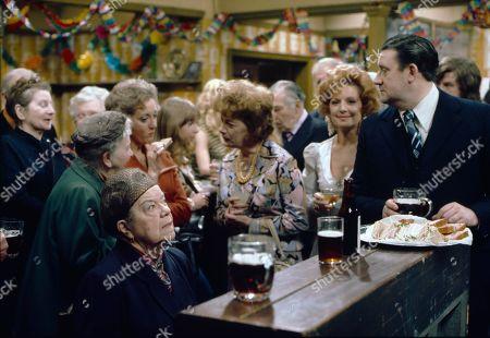 Margot Bryant (as Minnie Caldwell), Violet Carson (as Ena Sharples), Thelma Barlow (as Mavis Riley), Helen Worth (as Gail Potter), Jean Alexander (as Hilda Ogden), Barbara Knox (as Rita Littlewood) and Bryan Mosley (as Alf Roberts)