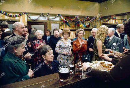 Margot Bryant (as Minnie Caldwell), Violet Carson (as Ena Sharples), Peter Adamson (as Len Fairclough), Jean Alexander (as Hilda Ogden), Thelma Barlow (as Mavis Riley) and Julie Goodyear (as Bet Lynch)