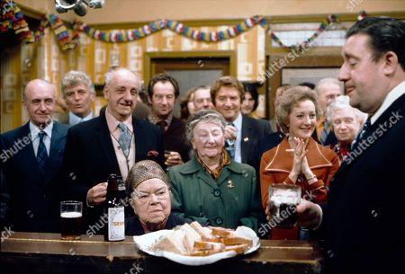 Violet Carson (as Ena Sharples), Margot Bryant (as Minnie Caldwell), Peter Adamson (as Len Fairclough), Thelma Barlow (as Mavis Riley) and Bryan Mosley (as Alf Roberts)