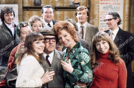 Cast members celebrate Jack Howarth's 80th Birthday. Neville Buswell (as Ray Langton), Jean Alexander (as Hilda Ogden), Kathy Jones (as Tricia Hopkins), Thelma Barlow (as Mavis Riley), Jack Howarth (as Albert Tatlock), Bryan Mosley (as Alf Roberts), Barbara Mullaney (as Rita Littlewood), William Roache (as Ken Barlow), Helen Worth (as Gail Potter) and Stephen Hancock (as Ernest Bishop)