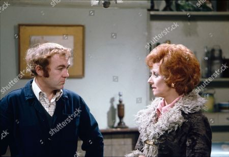 Graham Haberfield (as Jerry Booth) and Barbara Knox (as Rita Littlewood)