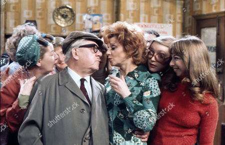 Cast members celebrate Jack Howarth's 80th Birthday. Jean Alexander (as Hilda Ogden), Jack Howarth (as Albert Tatlock), Barbara Mullaney (as Rita Littlewood), Anne Kirkbride (as Deirdre Hunt) and Helen Worth (as Gail Potter)