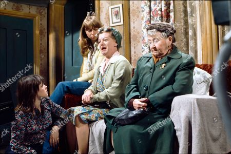 Kathy Jones (as Tricia Hopkins), Helen Worth (as Gail Potter) and Margot Bryant (as Minnie Caldwell)