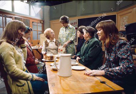 Helen Worth (as Gail Potter), Jean Alexander (as Hilda Ogden), Doris Speed (as Annie Walker), Eileen Derbyshire (as Emily Bishop), Violet Carson (as Ena Sharples), Margot Bryant (as Minnie Caldwell) and Kathy Jones (as Tricia Hopkins)
