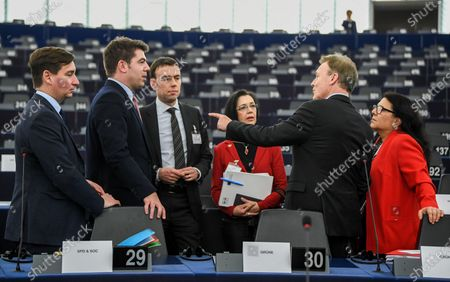 Vice president of the German Parliament of the Social Democratic Party (SPD) Thomas Oppermann (2-R) speaks with other MEPs before the session of the Franco-German Parliamentary Assembly at the European Parliament in Strasbourg, France, 05 February 2020 about the ministerpresident eelection Thueringen in Germany. The 'mini parliament' with German and French MPs created in 2019 will debate security and defense policy, among other things, at its two-day session.