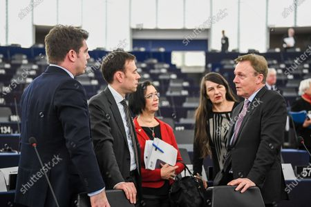 Vice president of the German Parliament of the Social Democratic Party (SPD) Thomas Oppermann (R) speaks with other MEPs before the session of the Franco-German Parliamentary Assembly at the European Parliament in Strasbourg, France, 05 February 2020 about the ministerpresident eelection Thueringen in Germany. The 'mini parliament' with German and French MPs created in 2019 will debate security and defense policy, among other things, at its two-day session.