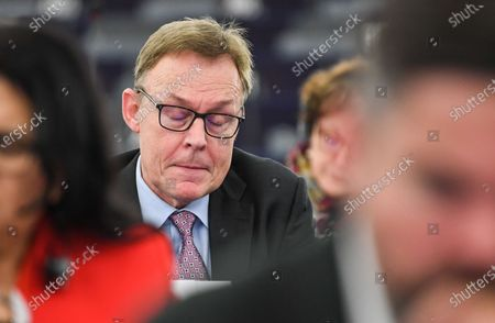 Vice president of the German Parliament of the Social Democratic Party (SPD) Thomas Oppermann (R)  attends the session of the Franco-German Parliamentary Assembly at the European Parliament in Strasbourg, France, 05 February 2020. The 'mini parliament' with German and French MPs created in 2019 will debate security and defense policy, among other things, at its two-day session.