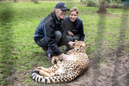Stock Photo of Damian Aspinall and Victoria Aspinall inside the enclosure with Cheetah brother Saba within the enclosure.