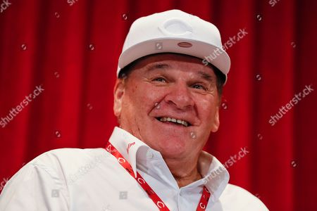 Former Cincinnati Reds player Pete Rose attends a news conference during his statue dedication ceremonies before a baseball game between the Reds and the Los Angeles Dodgers in Cincinnati. Rose once again asked Major League Baseball to end his lifetime ban, saying the penalty is unfair compared with discipline for steroids use and electronic sign stealing. Rose's lawyers submitted the application, to baseball Commissioner Rob Manfred, who in December 2015 denied the previous request by the career hits leader