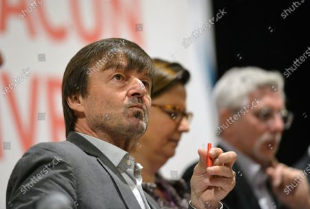 Nicolas Hulot at the cultural center of Villeurbanne to defend the 'Pact of the power to live'. Several organizations, associations, NGO's and trade unions have signed this pact launched a year ago